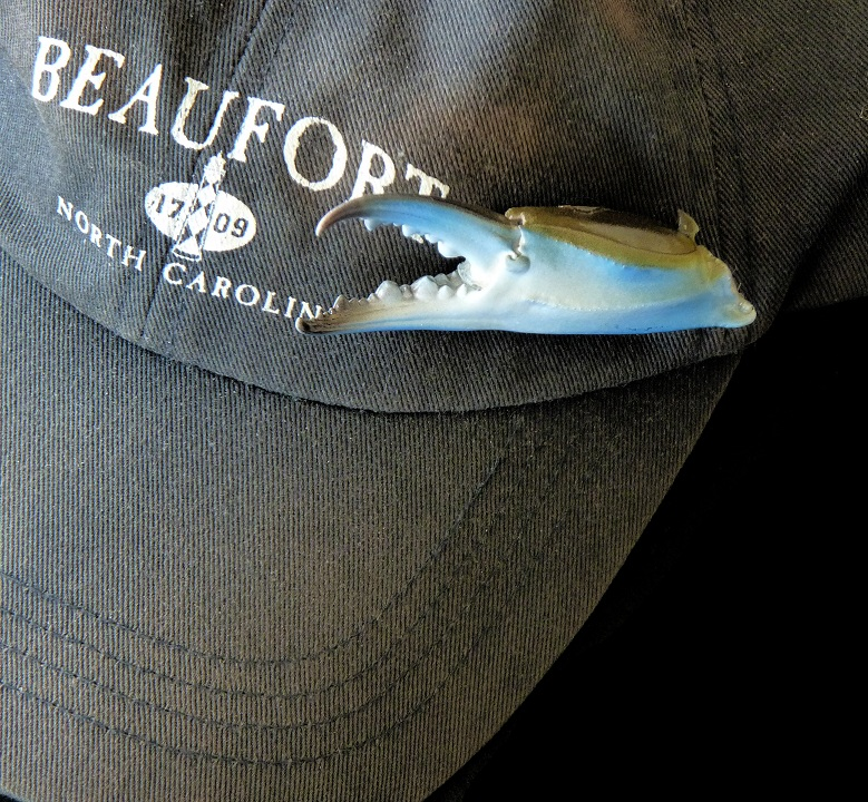 Authentic blue crab claw hat pin, tie tack, and lapel pins