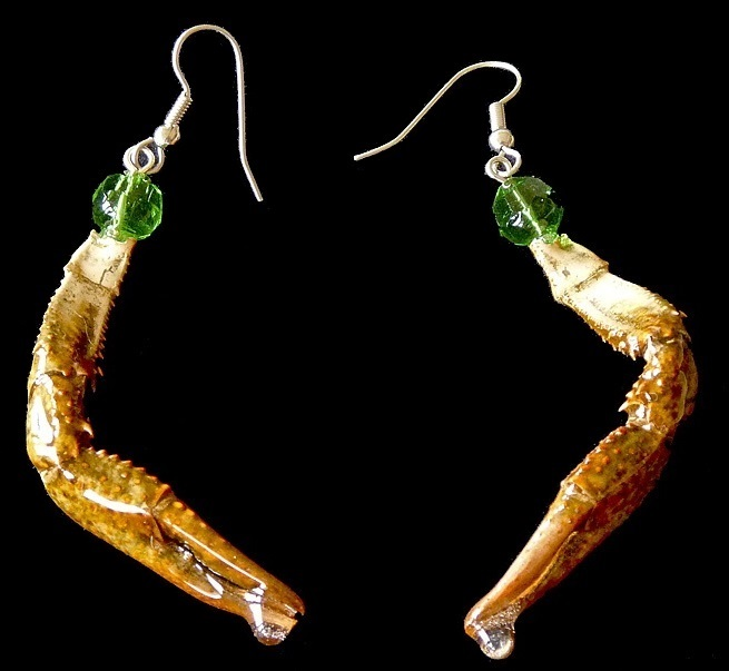 authentic crawfish claw earrings with green bead