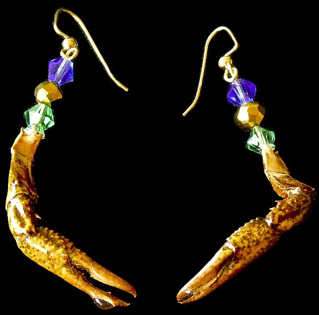 rare, authentic crawfish claw earrings