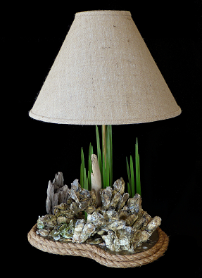 beautifully natural large oyster clamp lamp habitat art