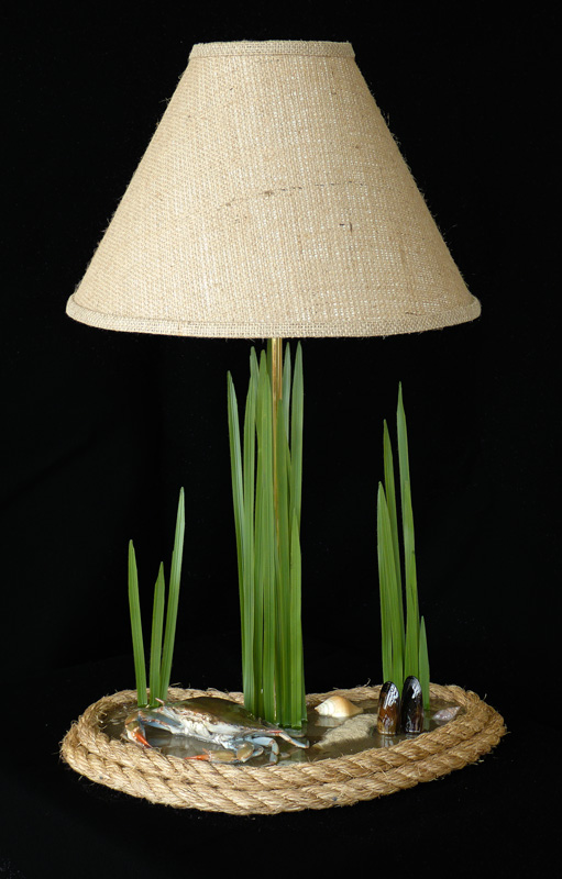 unique, cool, beautiful blue crab table lamp guaranteed to start a conversation