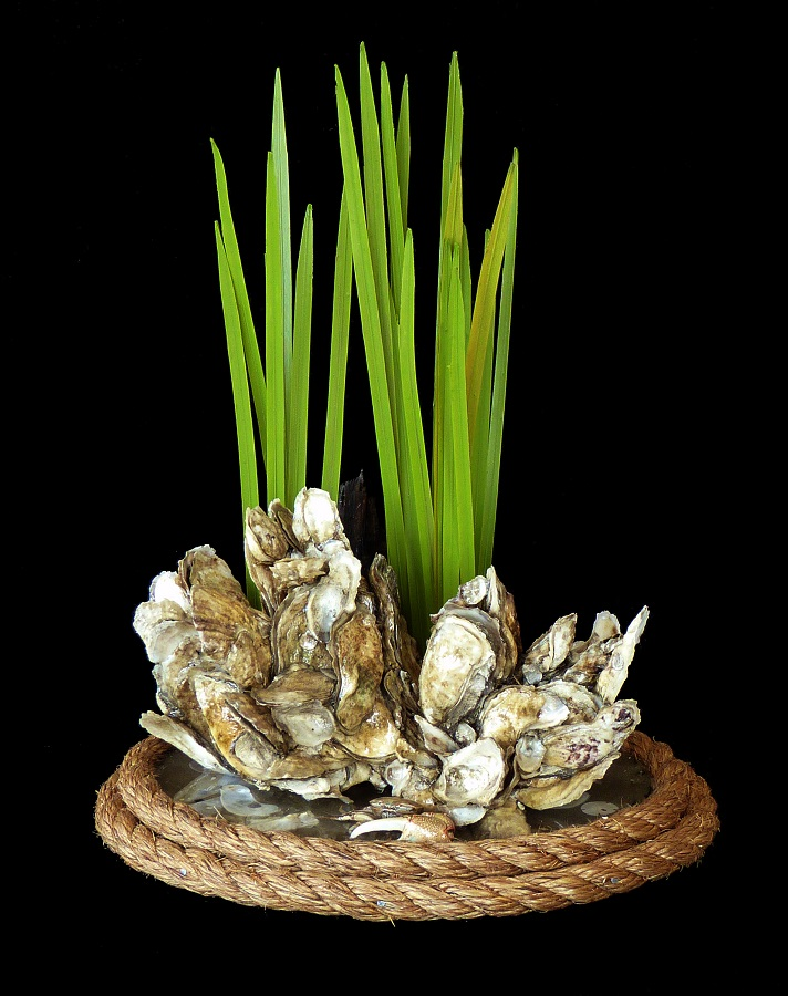 hand made in the USA oyster table center pieces